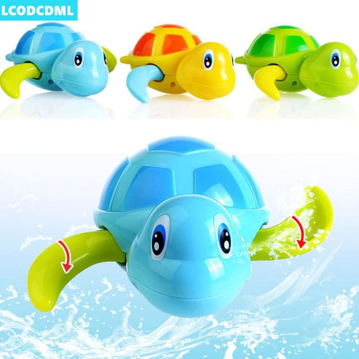 1pcs Swimming Tortoise Baby Toys Plastic Animals Wind Up Toys Pool Bath Fun Toys For Kids Turtle Chain Clockwork Classic Toys