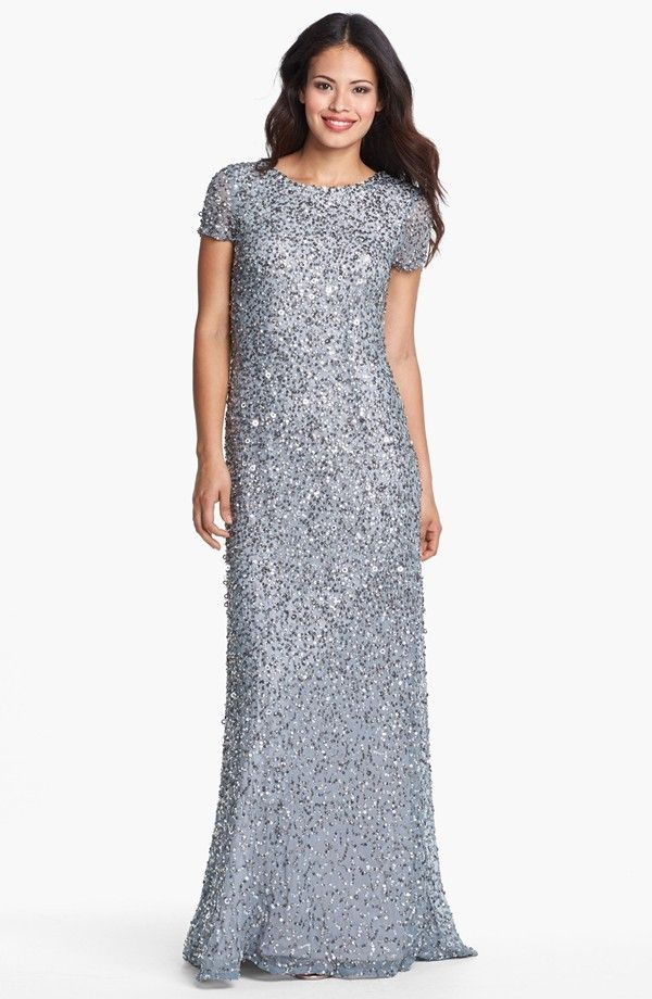 Short Sleeve Sequin Mesh Sheath Mother of the Bride Dress