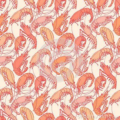 Shrimps. Seamless pattern background. Orange, red color linear drawing on beige. Drawn illustration, sketch, doodle