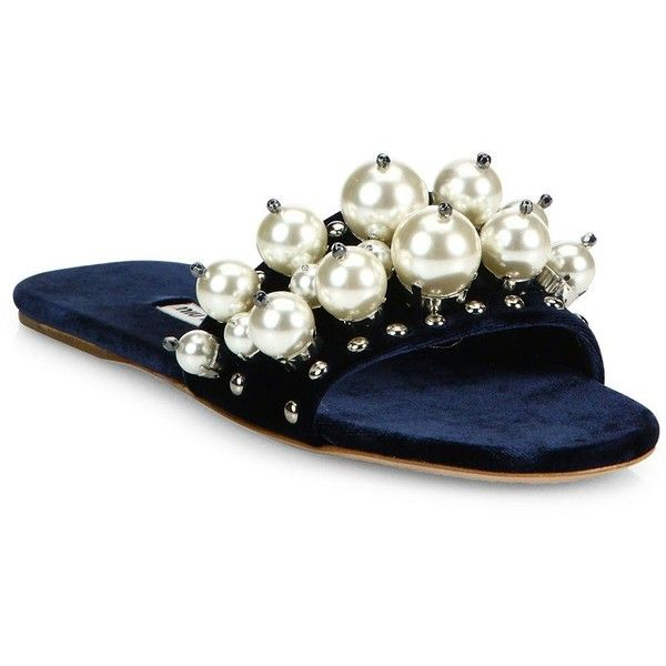 Miu Miu Pearl-Embellished Velvet Slides ($780) ❤ liked on Polyvore featuring shoes, apparel & accessories, open toe shoes, slip-on shoes, velvet slip on shoes, studded shoes and velvet shoes