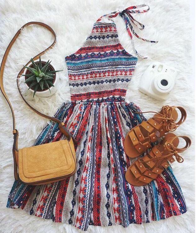 Southwest Print Halter Dress at Lulu's - Trendslove