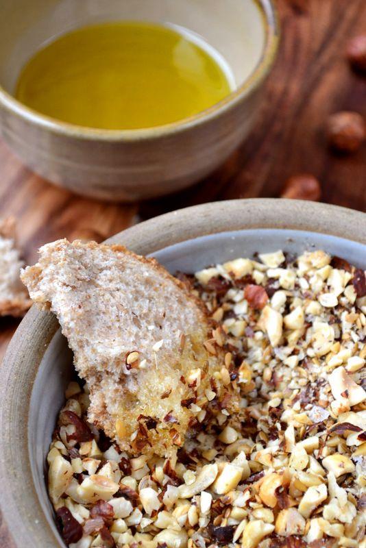 [ Recipe: Hazelnut Dukkah ] Made with: hazelnuts, cumin seeds, coriander seeds, sesame seeds (or linseeds), and sea salt (flakes). ~ from Frugal Feeding