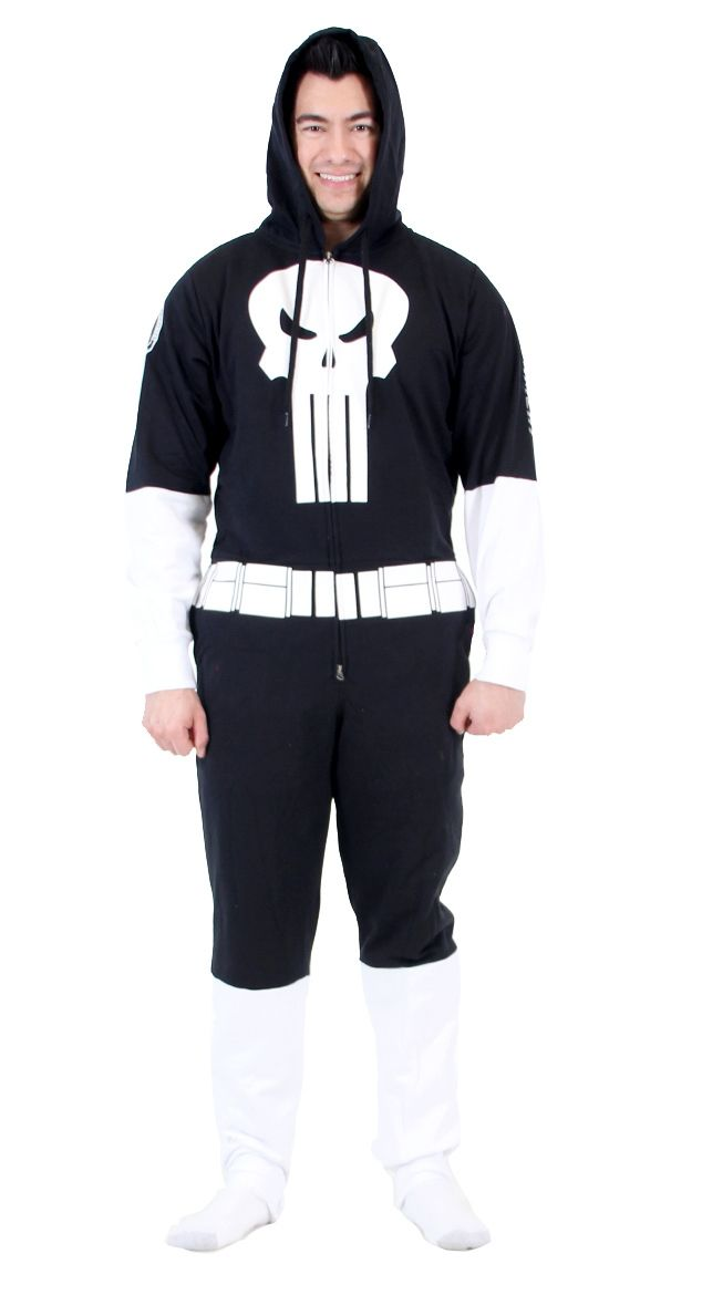 If you're looking for a warm outfit to wear during the winter or holiday season, then as a fan of the Punisher you might owe it to yourself to get this officially-licensed Punisher Costume Jumpsuit.  Featuring the iconic Punisher logo across the chest, this Men's Winter Punisher hoodie is totally badass and will show everyone exactly what the world's biggest fan of The Punisher looks like.