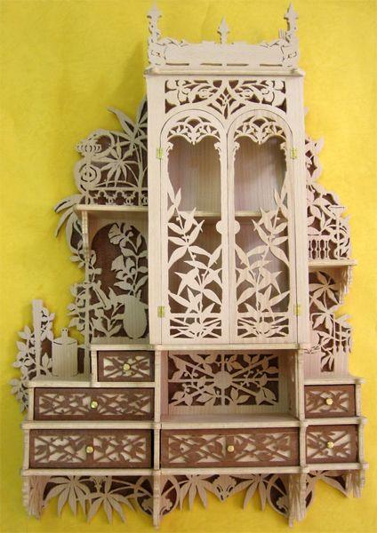 Home pharmacy cabinet, scroll saw fretwork pattern