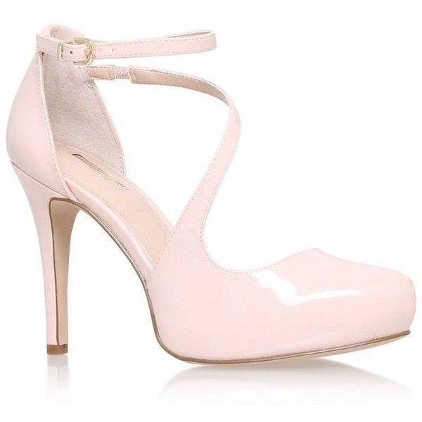 Carvela Pink 'antler' high heel sandal ($135) ❤ liked on Polyvore featuring shoes, sandals, heeled sandals, pink sandals, pink heel sandals and pink shoes