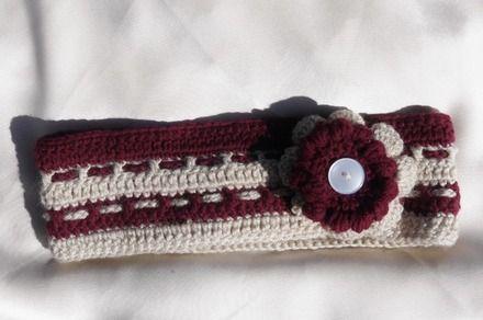Large bandeau tout doux intégralement crocheté à la main. Idéal à porter en chauffe-oreilles lors de la demi-saison, ou simplement en accessoire de coiffure.  ++ Modèle Un - 16012897