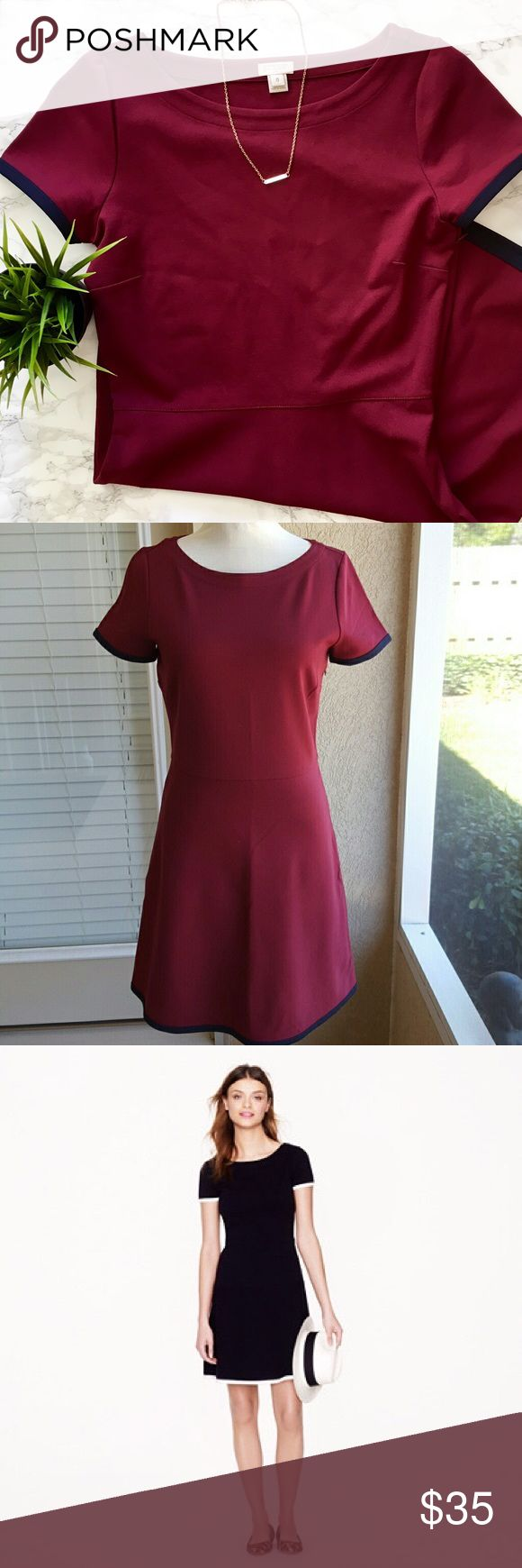 J. Crew Factory Tipped Ponte Burgundy Dress EUC no flaws. J. Crew Factory waist-defining ponte dress in cranberry with navy blue accents on sleeve and hem. Size 0. Short sleeves, side zipper, falls above the knee. Classic style. Very high quality feel to the material and structure of this dress. Please feel free to ask any questions before purchasing. I am happy to provide measurements upon request   ❣️Smoke-Free Environment ❣️Open to Offers ❣️No trades ❣️Bundle Discounts! 15% off 2+ items…