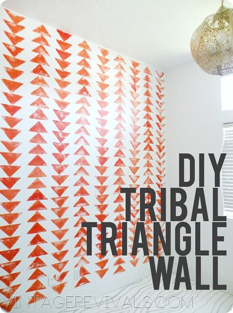 decor ideas ::   How to stamp your own Tribal Triangle Chain wall .... This project apparently took less than 3 hours and was FREE