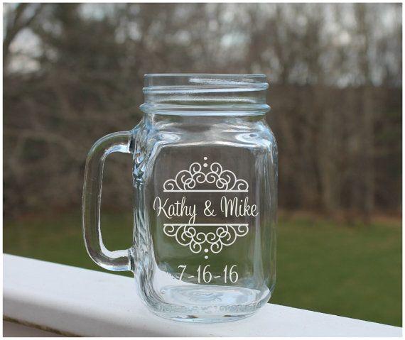 wedding mason jars,  personalized mason jar Etched mason jars, wedding jars,  by StoneEffectsMD