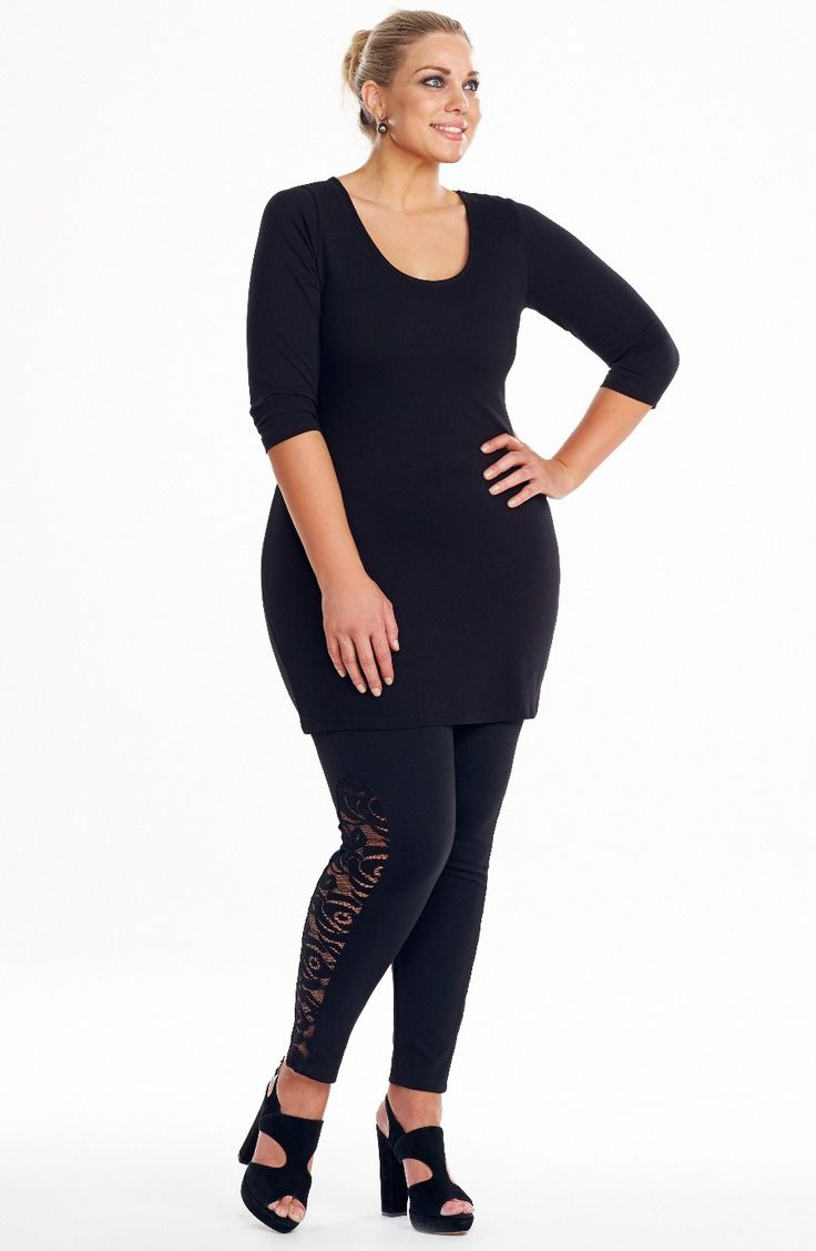 Side lace panel Legging/Black Style No: P4093 Stretch Ponti fabric legging. This legging as a stretch lace panel detail on the outer side of each leg. a new look for a great wardrobe essential. #2014 #plussize