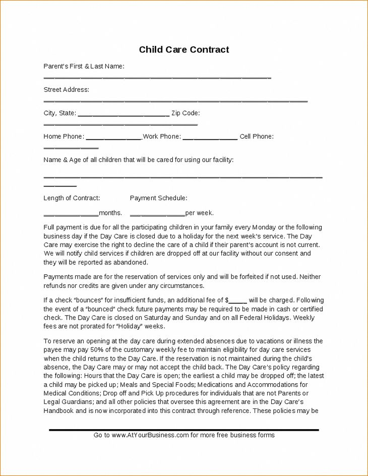 Child care contract template hashdoc daycarerooms