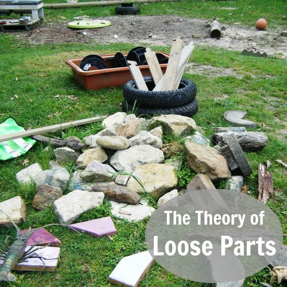 n a preschool outdoor environment we can provide an array of loose parts for use in play: stones, stumps, sand, gravel, fabric, twigs, wood, pallets, balls, buckets, baskets, crates, boxes, logs,  rope, tyres,  shells and seedpods.