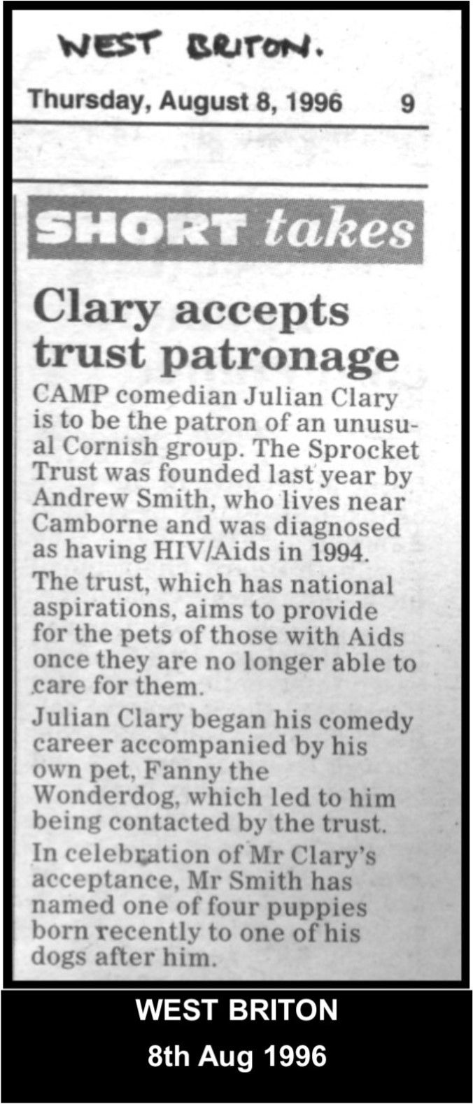 Comedian Julian Clary kindly became patron to the Sprocket Trust.  #LGBT http://www.lgbthistorycornwall.blogspot.com