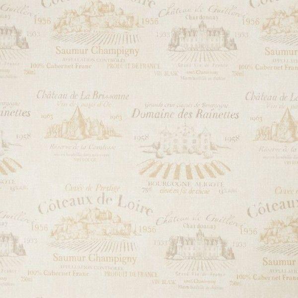 Tapeta Galerie Aquarius G 12213 - kremowa tapeta do kuchni w stylu vintage. Wzór z motywami francuskiej winnicy i z odręcznym pismem.