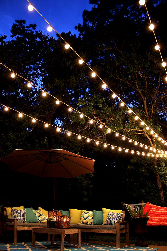 A tutorial showing how to hang a canopy of string lights to create a dreamy atmosphere in your backyard.