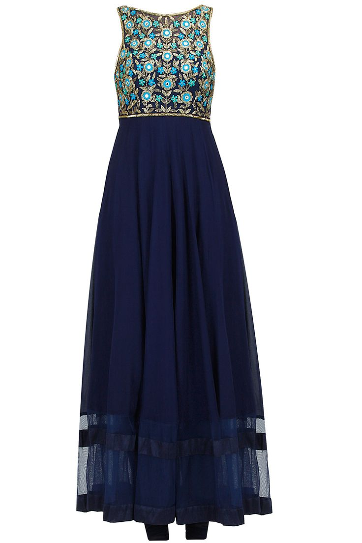 Midnight blue button flower kurta set available only at Pernia's Pop-Up Shop.