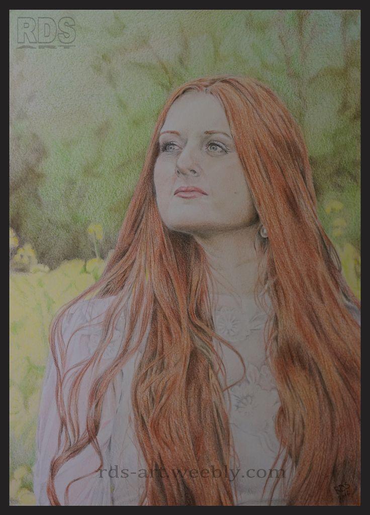 018. Sandra Gansweid // Redhead Project //   #German #Redhead #Model #Pencil #Drawing #Beauty #Long #Red #Hair #Garden #Portrait #RDS-art