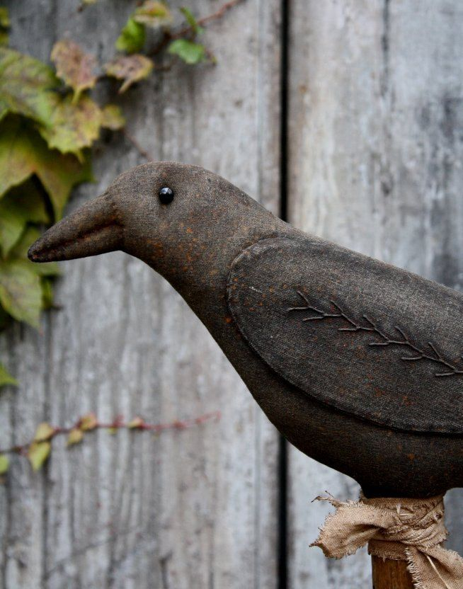 halloween fabric folk art crow pattern etsy - Halloween Crows