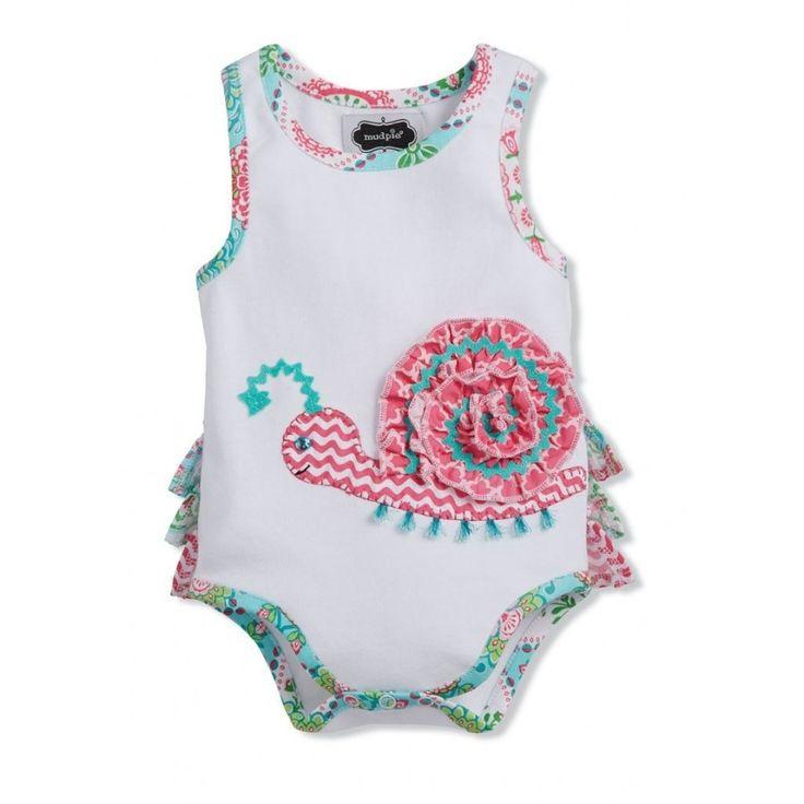 Mud Pie- Ruffle Snail Crawler    $24 baby clothes, baby girl