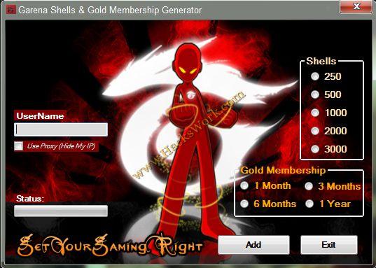 Garena+Shells+and+Gold+Membership+Generator