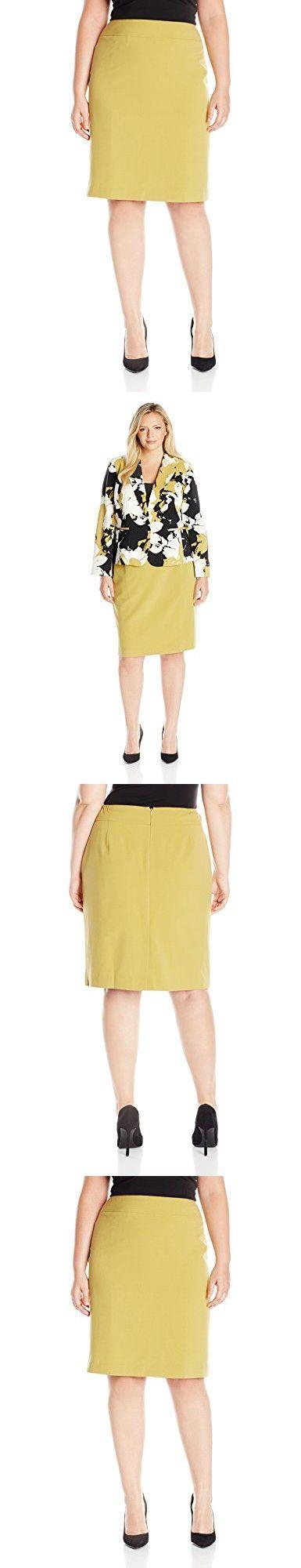 Nine West Women's Plus Size Stretch Straight Skirt, Bamboo, 16W