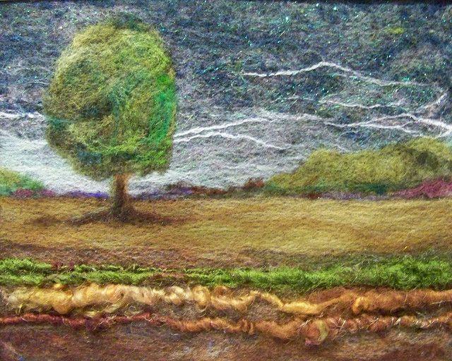 'Twilight' . Needlefelting on felt with art yarns