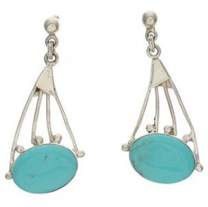 Southwest Jewelry Turquoise And Silver Earrings EX32169 http://www.silvertribe.com