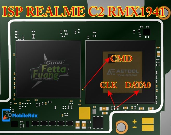 Realme C2 Rmx1941 Isp  Emmc  Pinout For Remove User Lock