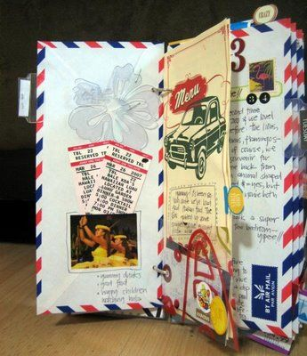 Blog Scrapbook Laurentides: Inspiration... journal de voyage!  http://scrapbooklaurentides.blogspot.co.nz/2009/07/inspiration-journal-de-voyage.html