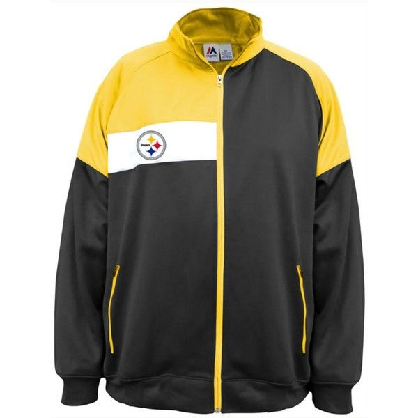 Majestic Men's Pittsburgh Steelers Court Track Jacket ($65) ❤ liked on Polyvore featuring men's fashion, men's clothing, men's activewear, men's activewear jackets, mens track tops, mens activewear and mens track jackets