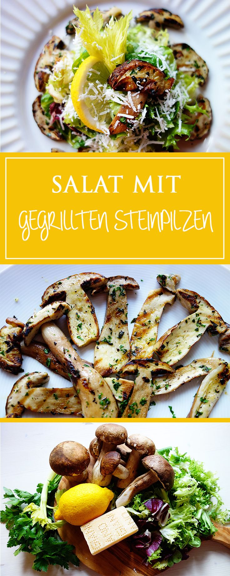 Salat mit gegrillten Steinpilzen - ein einfaches & aromatisches Rezept für einen herrlichen italienischen Herbst-Salat! Zudem glutenfrei & vegetarisch! 🍂🇮🇹❤️   cucina-con-amore.de