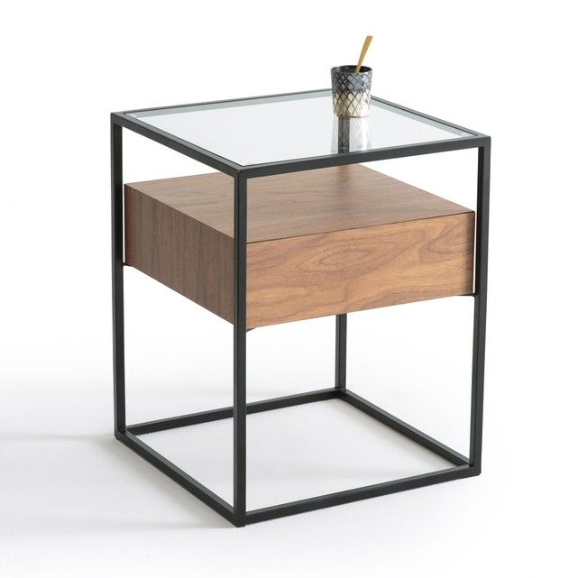 Agura 1 Drawer Bedside Table A Very Contemporary Chic Look We Love The Great Mix Of Metal Wood And Glass Plus Bedside Table Metal Metal Bedside Furniture