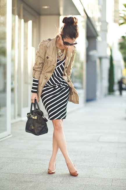 stripes & military trench: Work Looks, Fashion Ideas, Outfit Ideas, Color Combos, Business Attire, Work Outfit, Neutral Tones, The Dresses, Stripes Dresses