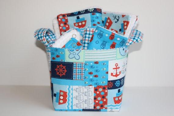Baby boy gift basket Nautical at sea Burp by LittlePeepsDesign, $33.50