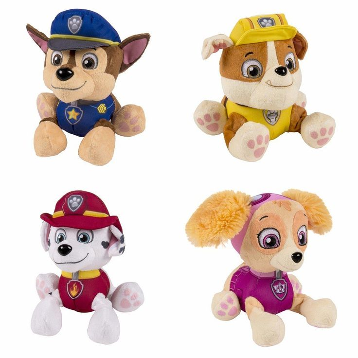 Amazon.com: Paw Patrol Plush Pup Pals Stuffed Animal Toy Set: Chase, Rubble, Marshall & Skye by Spin Master: Toys & Games