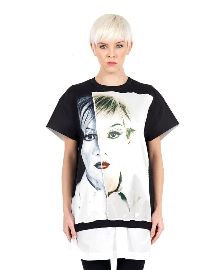 PORTS 1961 Black blouse lined Print Andy Warhol round neck short sleeves silk inserts 94% PL 6% Spandex Lining: 81% CO 17.5% PA 1.5% Spandex