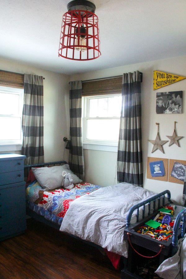 Vintage Modern Boys Room, Cute Boys Room, Neutral Boys Room, Boys Bedroom, Boys Shared Room, www.BrightGreenDoor.com