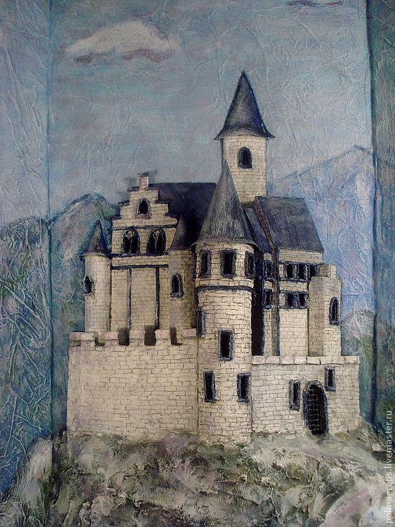 Купить Объемное панно Горный замок - голубой, белый, замок, горы, горный пейзаж, средневековый