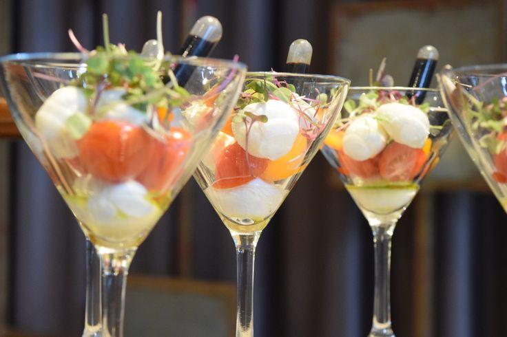 Caprese Salads in Martini Glasses | Print Works Bistro Catering | Proximity Hotel Event | Greensboro, NC
