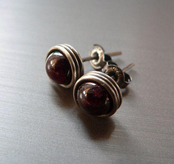 Garnet earstuds wrapped post earrings Sterling silver