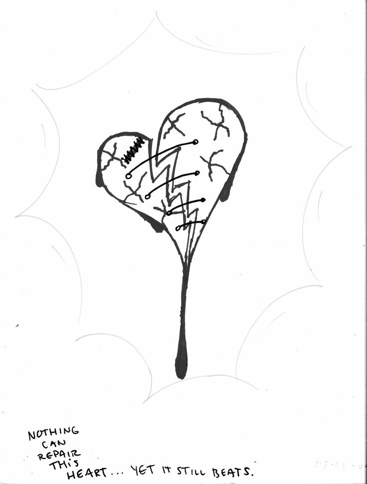 Broken hearts black and white