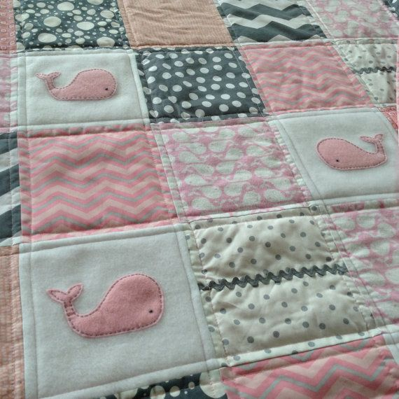 Baby Whale quilt in shades of Pink by Lovesewnseams on Etsy, $148.00