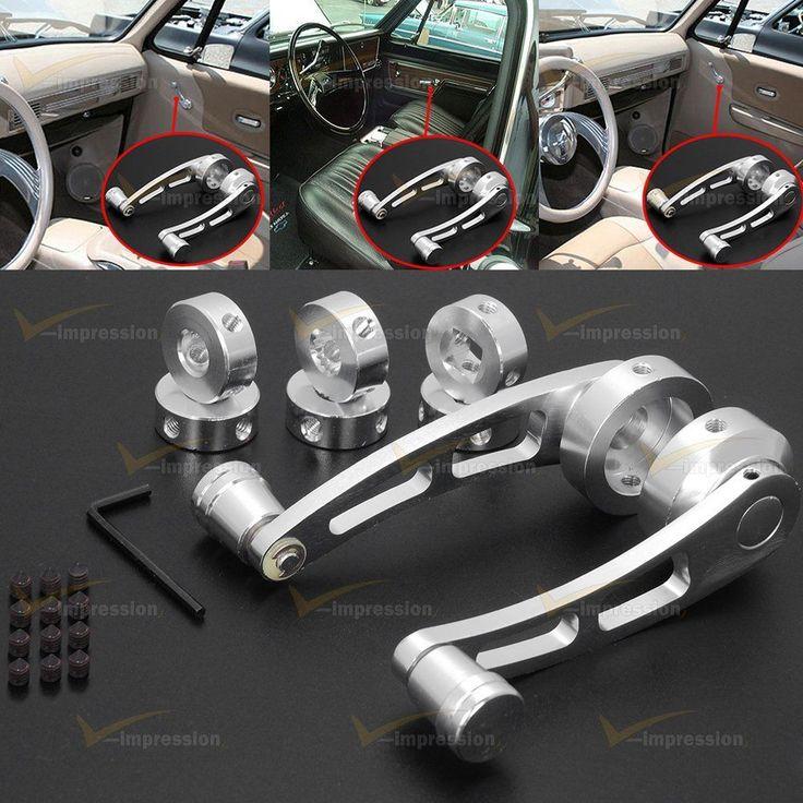 2pcs Car Universal Chrome Billet Aluminum Manual Door Handle Crank Window Winder #Vimpression