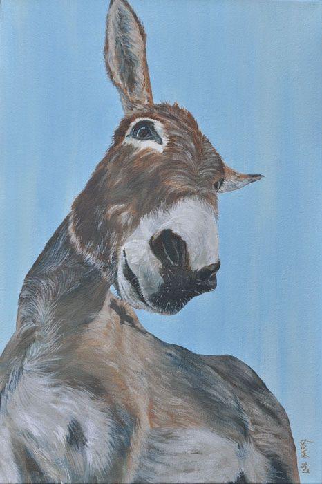 Noah the donkey  (oil on canvas, 600X400mmX45mm) by Lisl Barry   www.lislbarry.co.za  Little Karoo animals