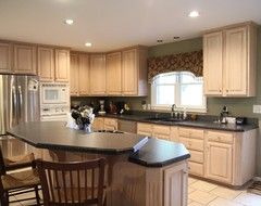 Pickled oak cabinets houzz kitchen pinterest oak for White pickled kitchen cabinets