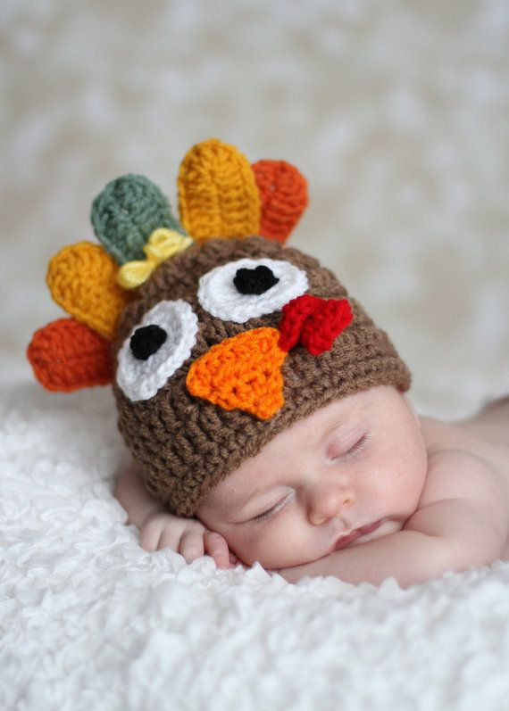 Tom the Turkey crochet Beanie Hat Boy or Girl Many by thebabypea