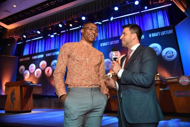 Russell Westbrook Displays Lucky Shirt During 2015 NBA Draft Lottery NBA Draft Lottery  #NBADraftLottery