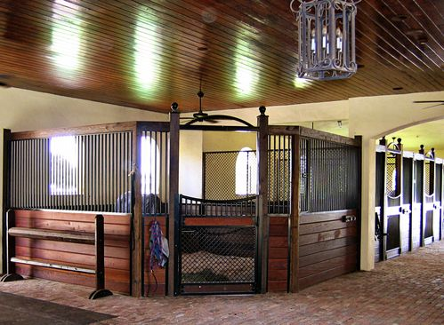 high stall front 66 corner stall design with bar top wood and 45 - Horse Stall Design Ideas