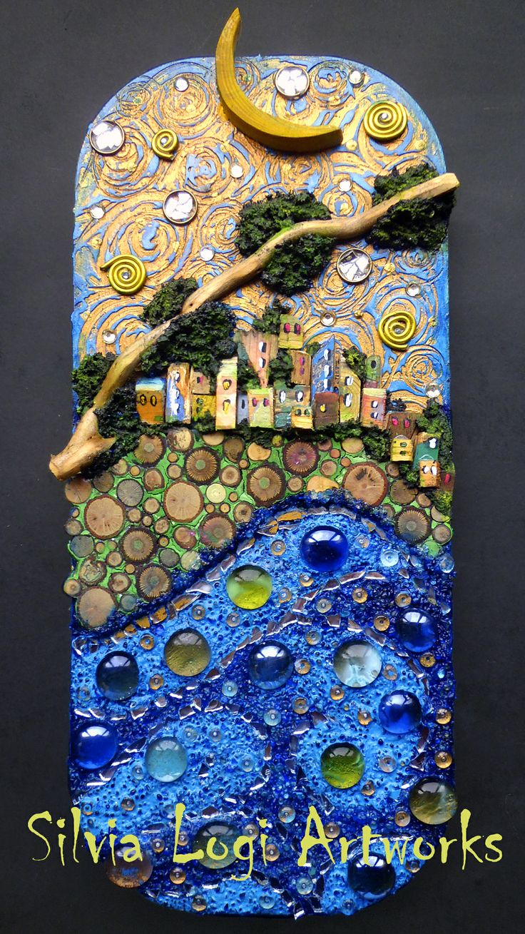 #sea #village #moon #wood #mixedmedia #mosaic see more on my FB page https://www.facebook.com/pages/Silvia-Logi-Artworks/121475337893535?ref=br_rs