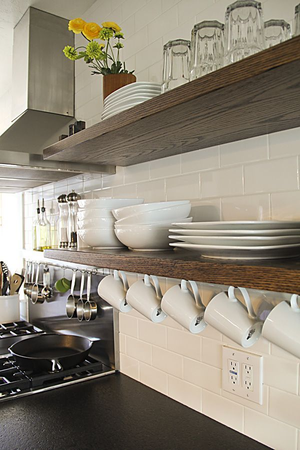 11 Kitchen Storage Spots You Completely Forgot About. Solid Wood  ShelvesKitchen With Floating ...